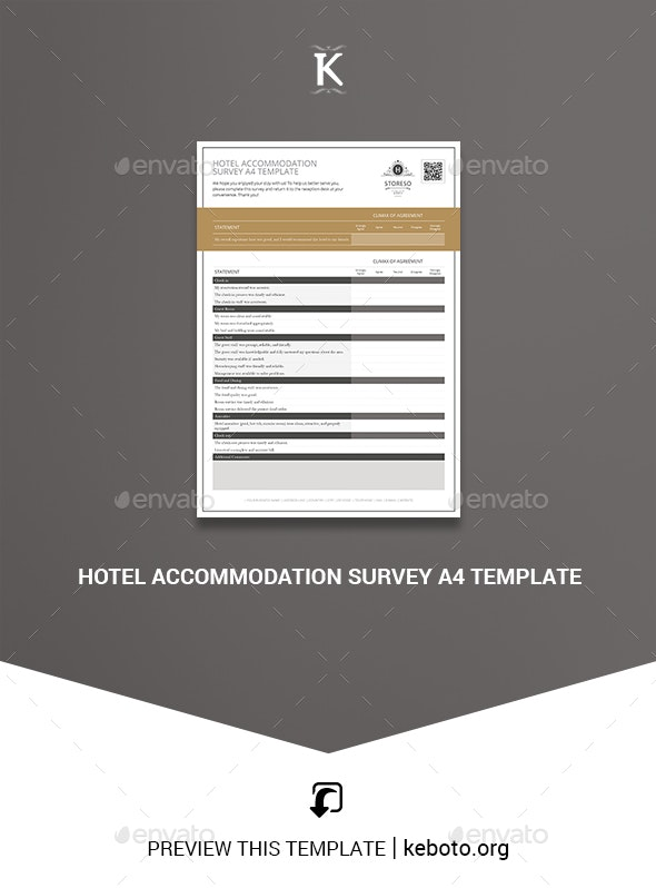 Hotel Accommodation Survey A4 Template - Miscellaneous Print Templates