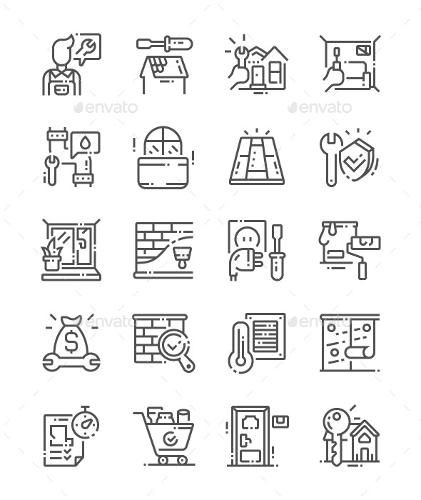 General repair concepts Line Icons - Buildings Objects