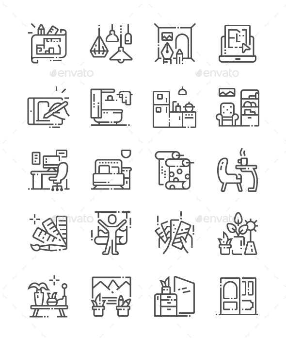 Interior Design Line Icons - Buildings Objects