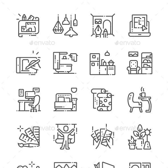 Interior Design Line Icons