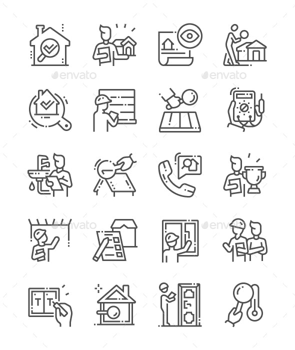 Home Inspections Line Icons - Miscellaneous Characters