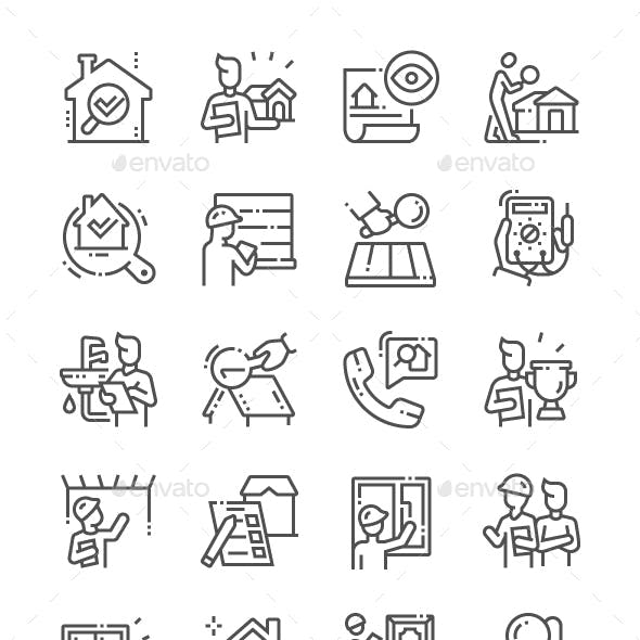 Home Inspections Line Icons