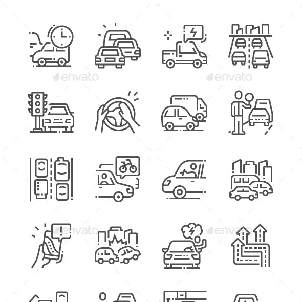 Traffic Jams Line Icons