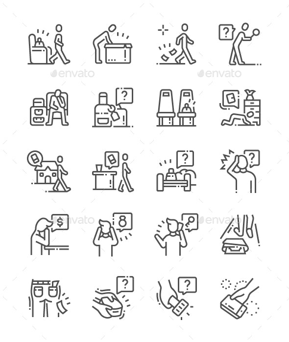 Lost Things Line Icons - Miscellaneous Characters