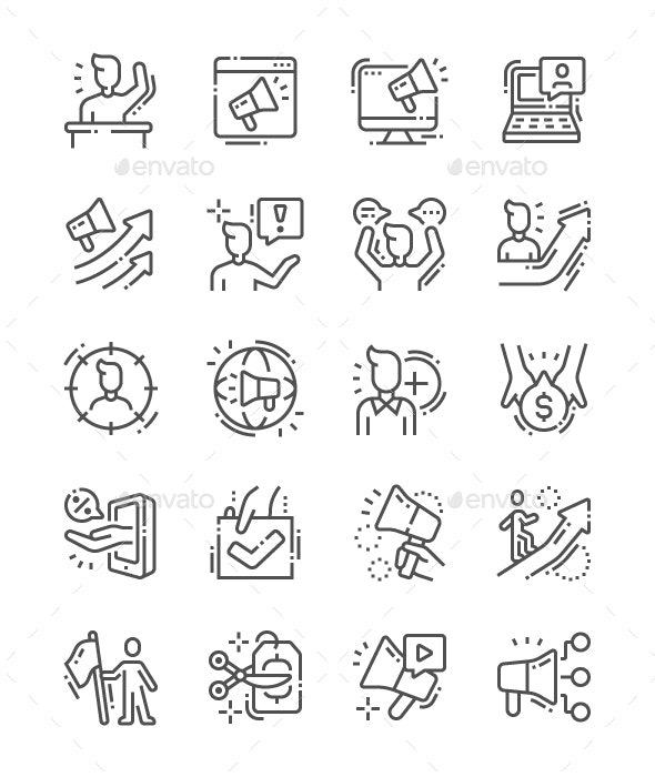 Promotion Line Icons - Business Icons
