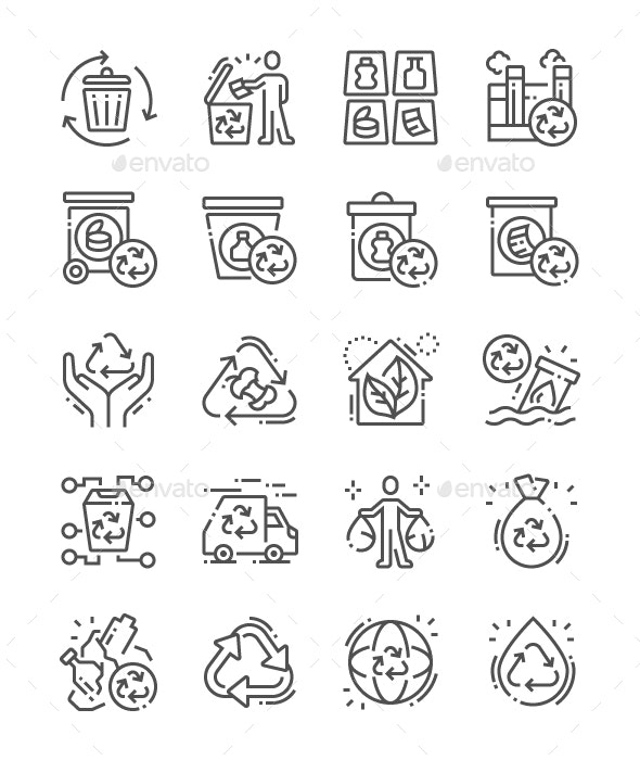 Recycling Line Icons - Business Icons