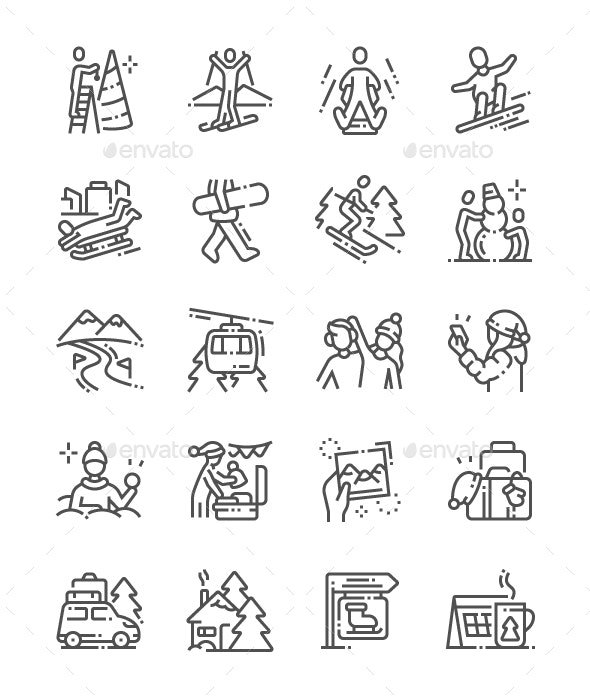 Winter Vacation Line Icons - Miscellaneous Characters