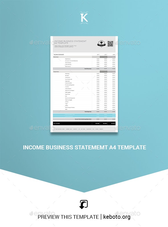 Income Business Statememt A4 Template - Miscellaneous Print Templates