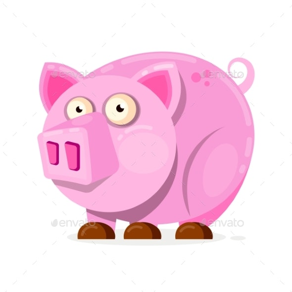 Pink Pig in Cartoon Style - Animals Characters