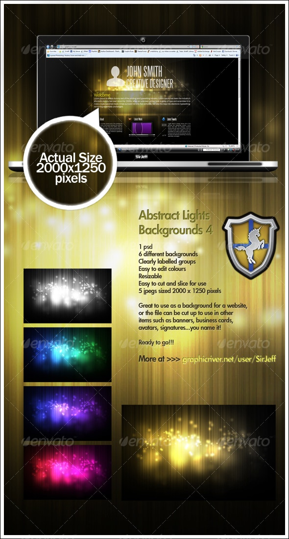 Abstract Lights Background Pack 4 - Backgrounds Graphics