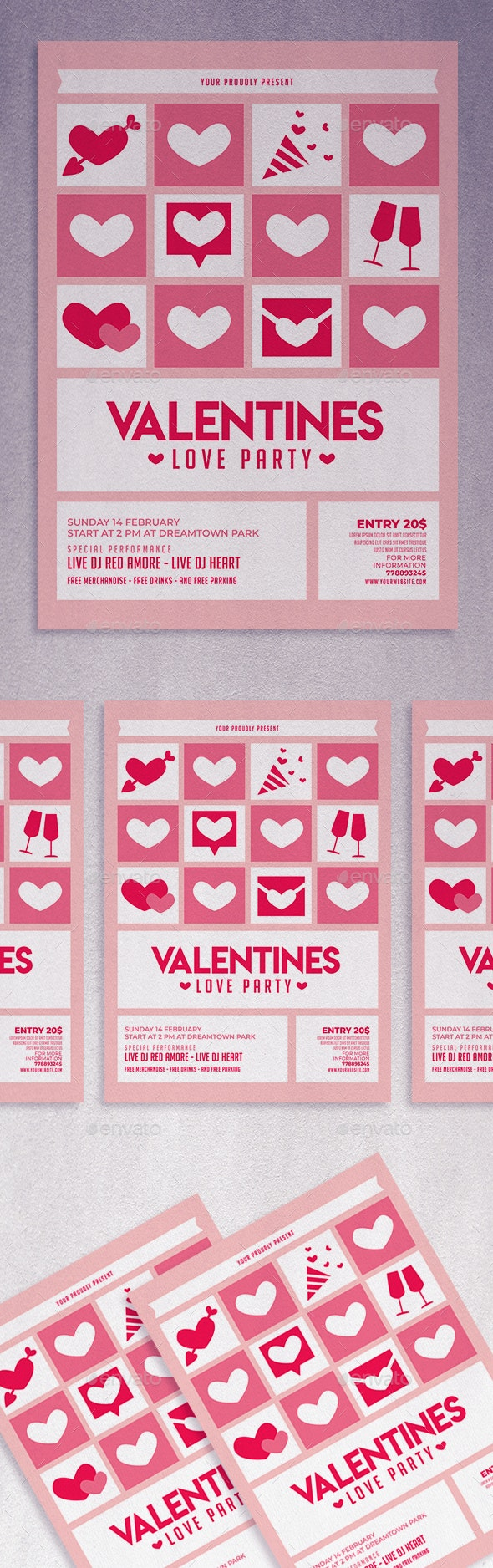 Valentines Love Party Flyer - Invitations Cards & Invites