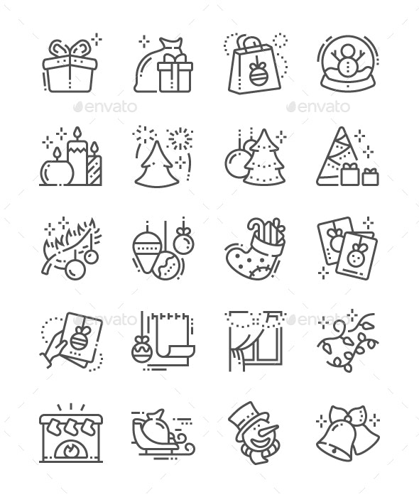 Merry Christmas Line Icons - Miscellaneous Characters