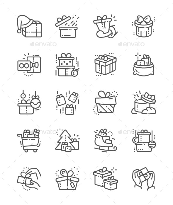 Gifts Line Icons