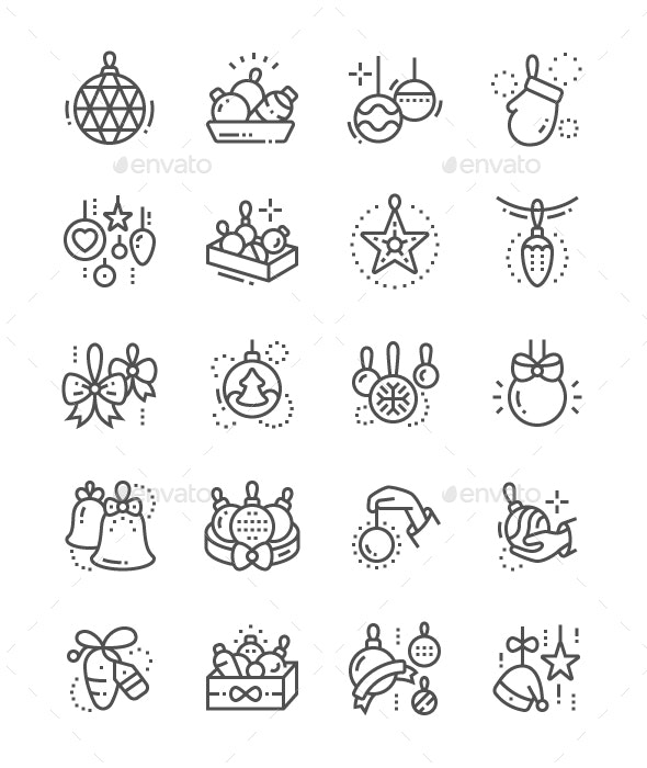 Toys on the Christmas tree Line Icons - Miscellaneous Characters