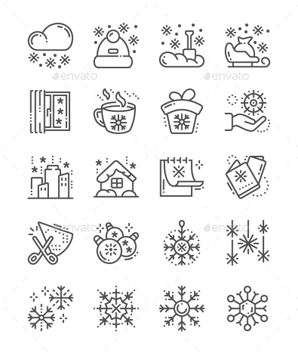 Snowflakes Line Icons