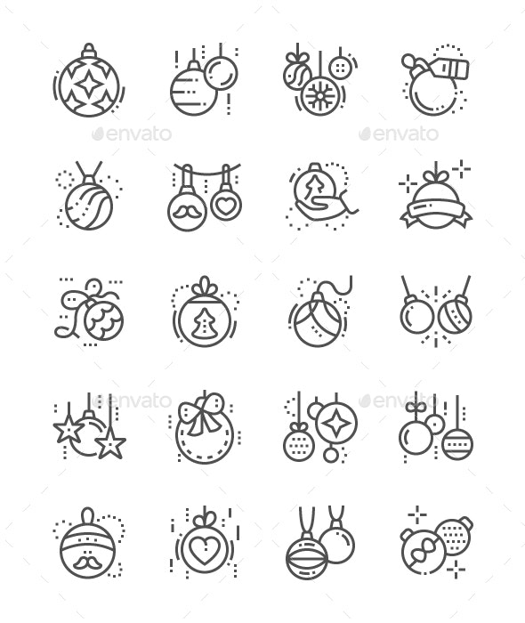 Christmas Balls Line Icons - Miscellaneous Characters