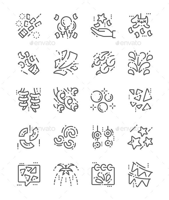 Confetti Line Icons