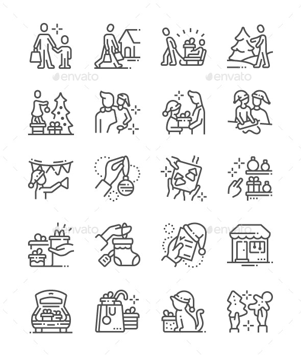 Family with Kids Prepare for Christmas Line Icons - People Characters