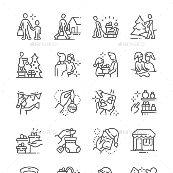 Family with Kids Prepare for Christmas Line Icons