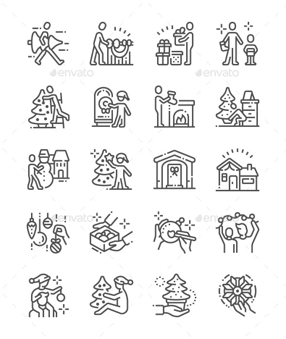 Family Decorates the Christmas Home Line Icons - Miscellaneous Characters
