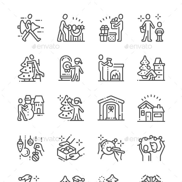 Family Decorates the Christmas Home Line Icons