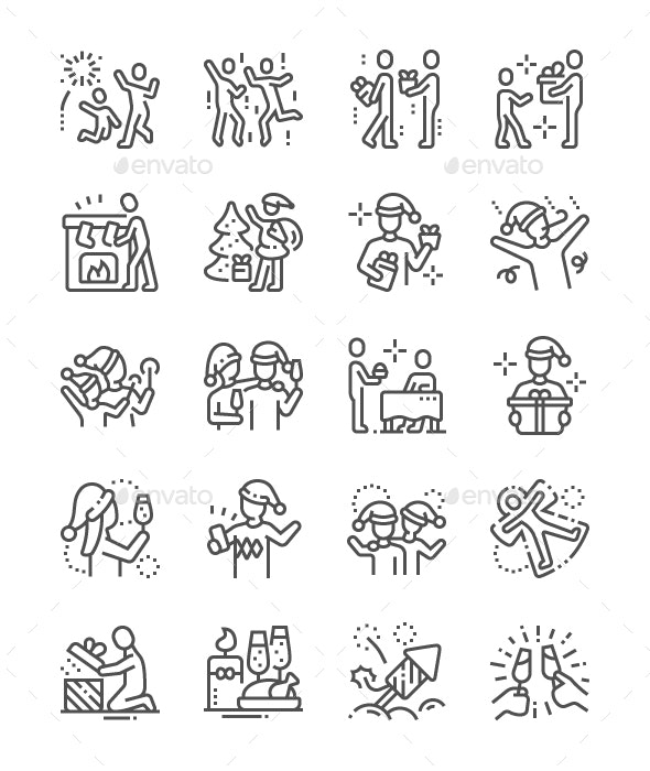 People Celebrate Christmas Line Icons - People Characters