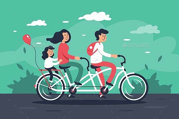 Family Riding Bike - People Characters