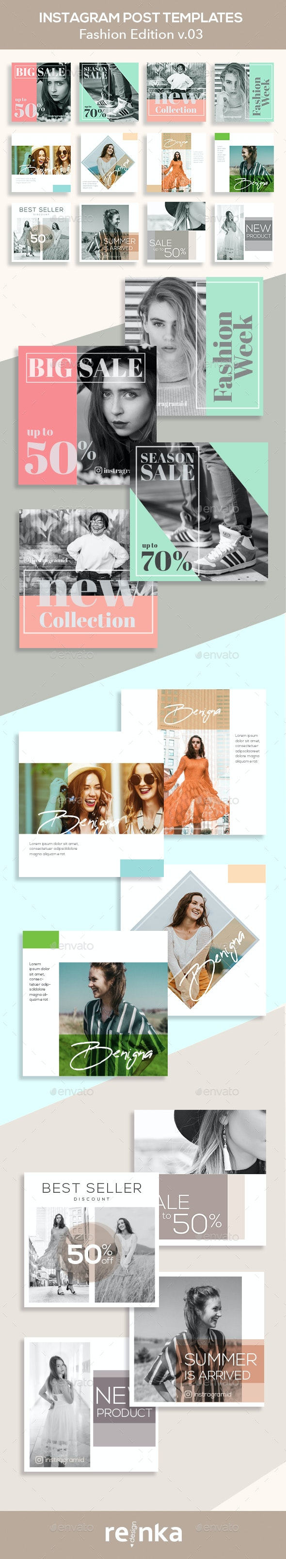 Fashion Instagram Posts v.03 - Social Media Web Elements