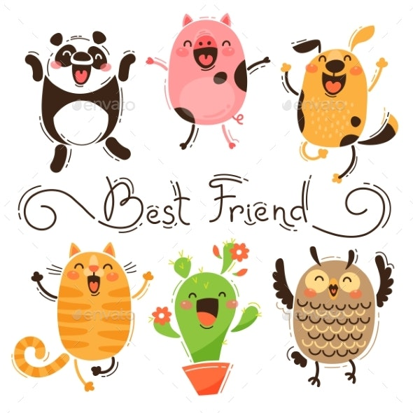Panda, Pig, Dog, Cat and Owl Best Friends - Animals Characters