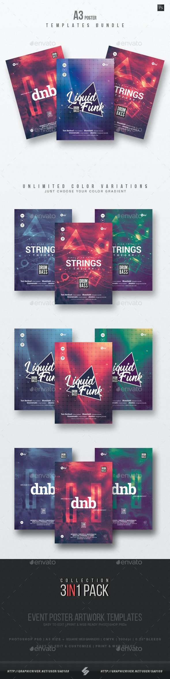 Drum and Bass vol.2 - Party Flyer / Poster Templates Bundle - Clubs & Parties Events