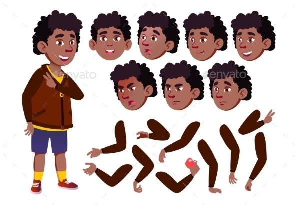 Teen Boy Vector. Teenager. Black. Afro American - People Characters