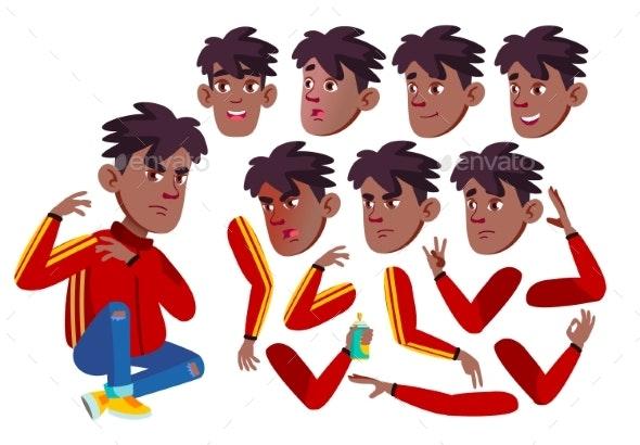 Teen Boy Vector. Rap Battle Singer Teenager. Black - People Characters