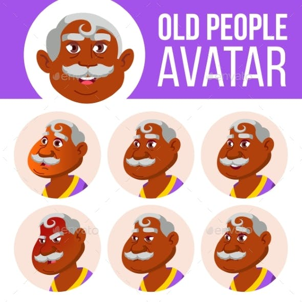 Indian Old Man Avatar Set Vector. Face Emotions