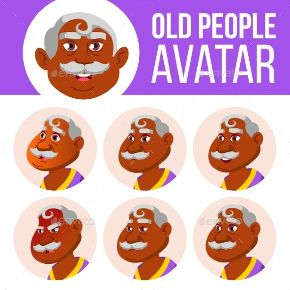 Indian Old Man Avatar Set Vector. Face Emotions - People Characters