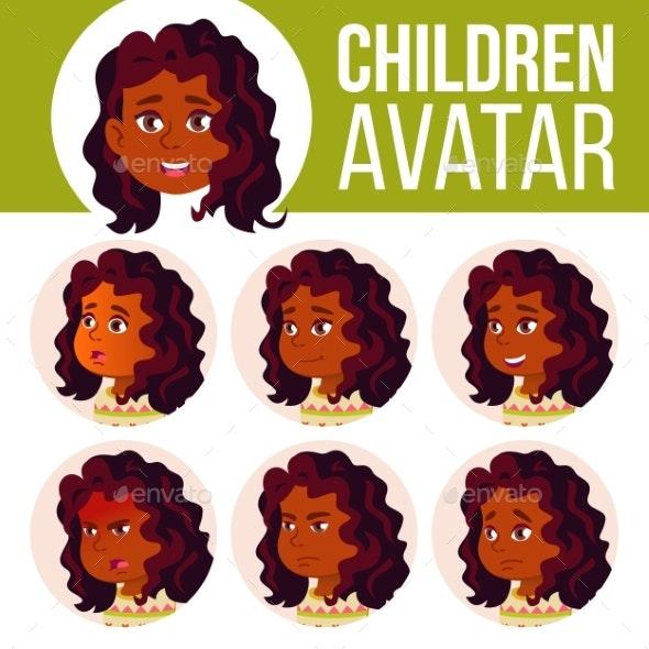 Indian Girl Avatar Set Kid Vector. Hindu. Asian - People Characters