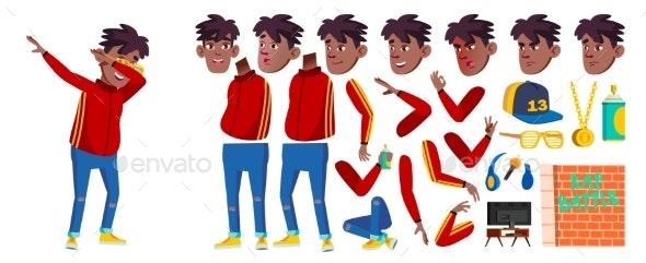Rap Battle Singer Boy Kid Vector. Schoolboy. Black - People Characters