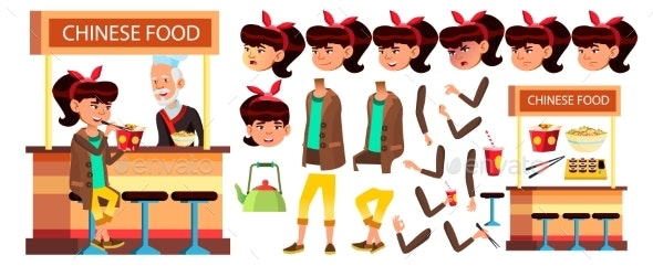 Asian Girl Kid Vector. High School Child - People Characters