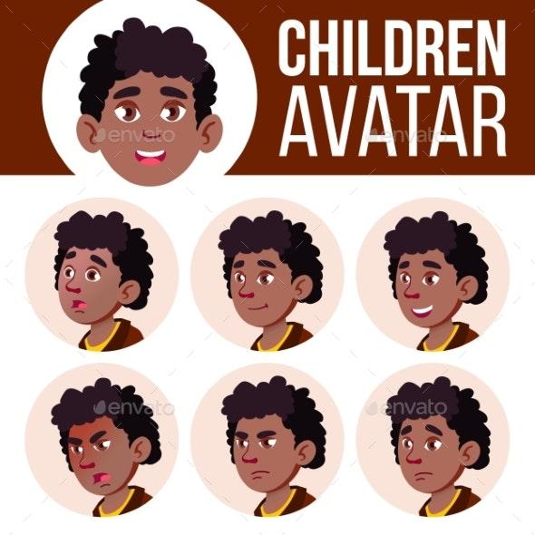 Boy Avatar Set Kid Vector. Black. Afro American - People Characters
