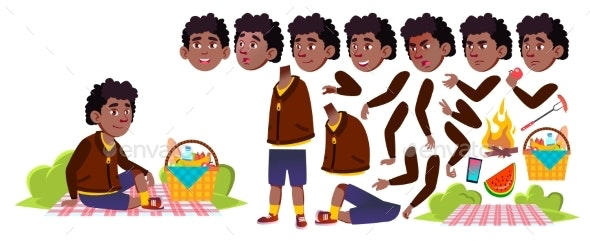 Boy Schoolboy On Picnic Vector. Black. Afro - People Characters