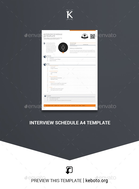 Interview Schedule A4 Template - Miscellaneous Print Templates