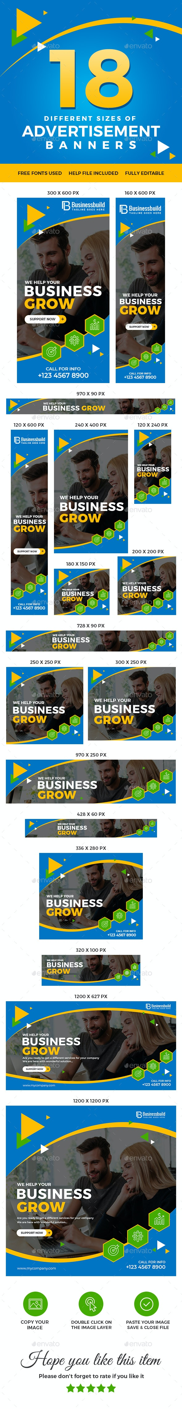 Advertising Web Banner Set - Banners & Ads Web Elements
