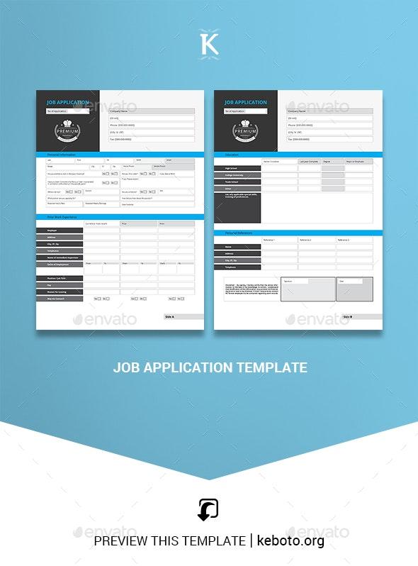 Job Application Template - Miscellaneous Print Templates