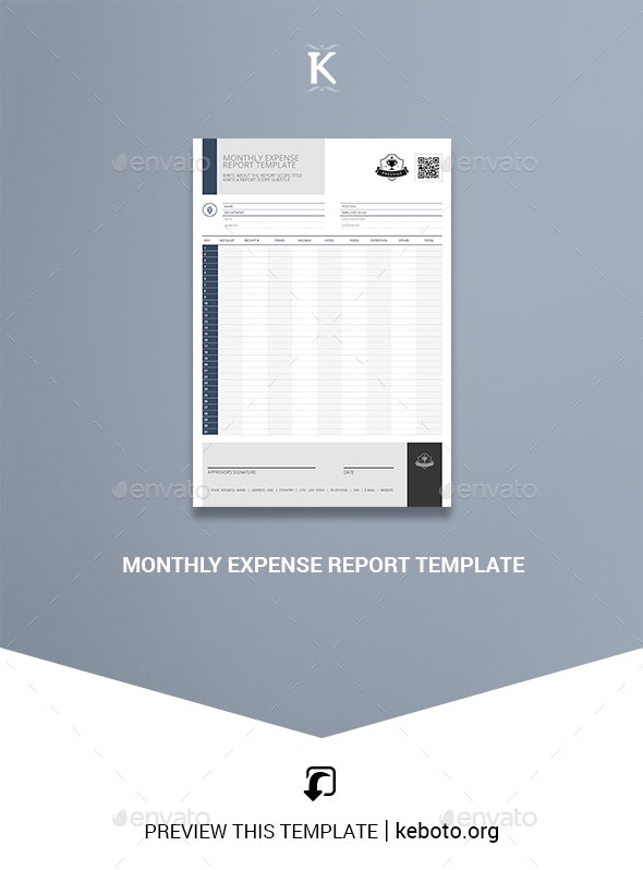 Monthly Expense Report Template - Miscellaneous Print Templates