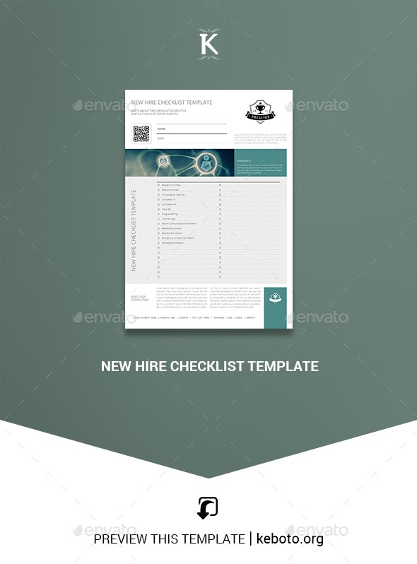 New Hire Checklist Template - Miscellaneous Print Templates