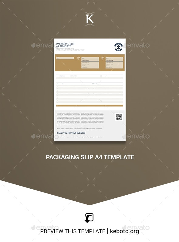 Packaging Slip A4 Template - Miscellaneous Print Templates