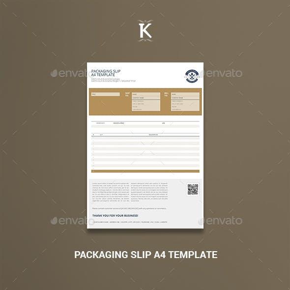 Packaging Slip A4 Template