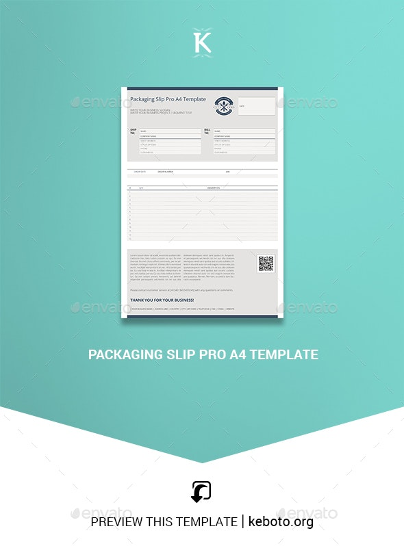 Packaging Slip Pro A4 Template - Miscellaneous Print Templates