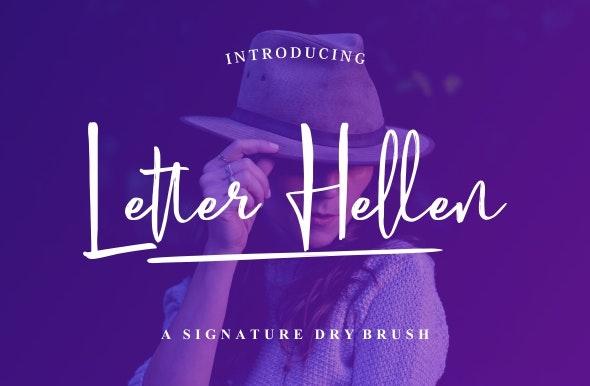 Letter Hellen Signature Dry Brush - Cursive Script