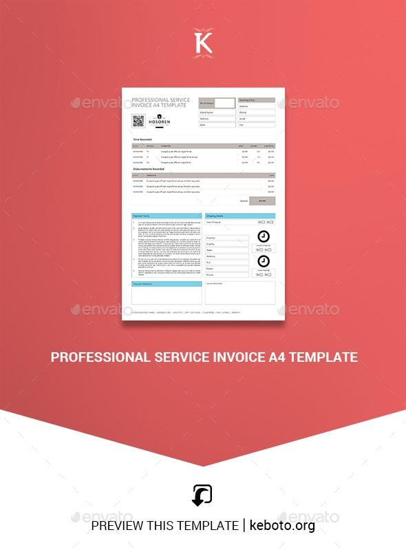 Professional Service Invoice A4 Template - Miscellaneous Print Templates