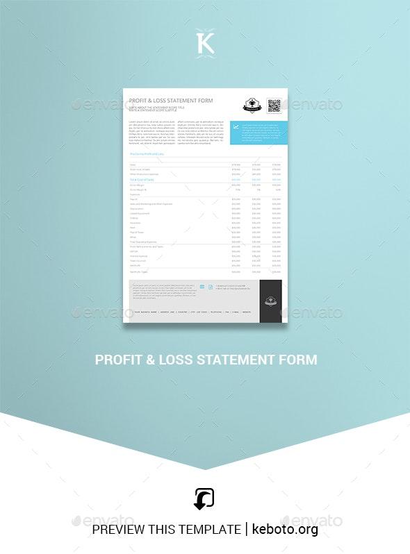 Profit & Loss Statement Form - Miscellaneous Print Templates